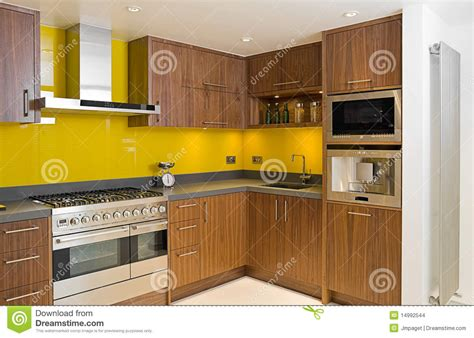 Brand New Contemporary Walnut Kitchen Stock Photo Image