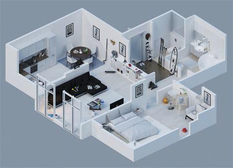 3d floor plan image 2 for the 1 bedroom studio floor plan apartment designs shown with rendered 3d floor plans