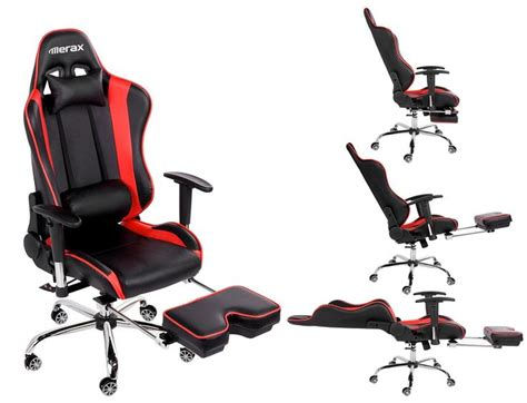 merax ergonomic series pu leather office chair racing chair with footrest computer
