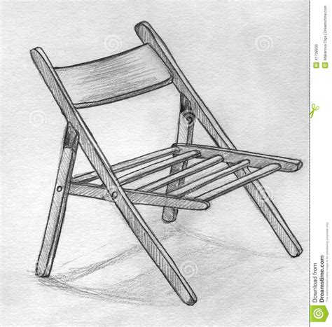 croquis tir 233 par la de crayon d une chaise pliante illustration stock image 41738930