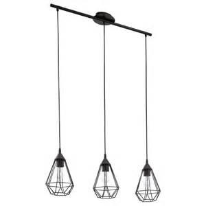 suspension e27 style industriel tarbes m 233 tal noir 3 x 60 w eglo leroy merlin