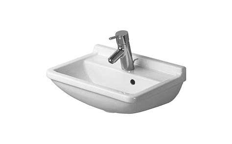 duravit 0750450000 white starck 3 ceramic 17 3 4 quot wall mounted bathroom sink with single faucet