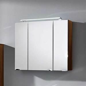 Spiegelschrank Bad 160 Cm Breit : bad spiegelschrank dalonia in walnuss 80 cm ~ Markanthonyermac.com Haus und Dekorationen