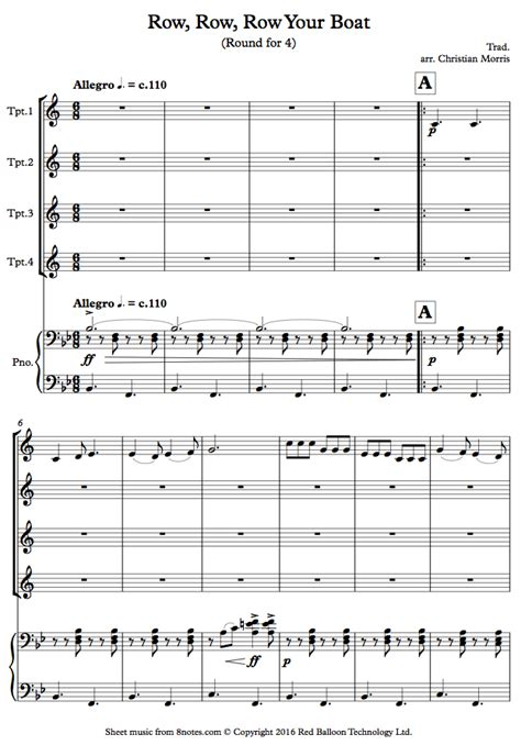 Row Row Row Your Boat Notes Piano by Row Row Row Your Boat Sheet Music For Trumpet Quartet