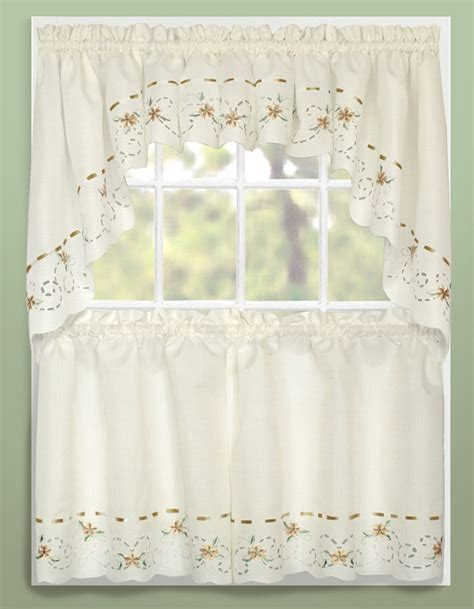 rachael kitchen curtains taupe united curtains jabot swag kitchen curtains