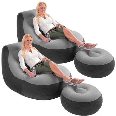 2 pack intex ultra lounge chair w ottoman sofa