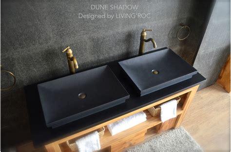 vasque en 201 vier en dune shadow granit noir 60x40cm salle de bain living roc