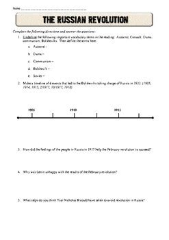 Russian Revolution Common Core Reading Worksheet By