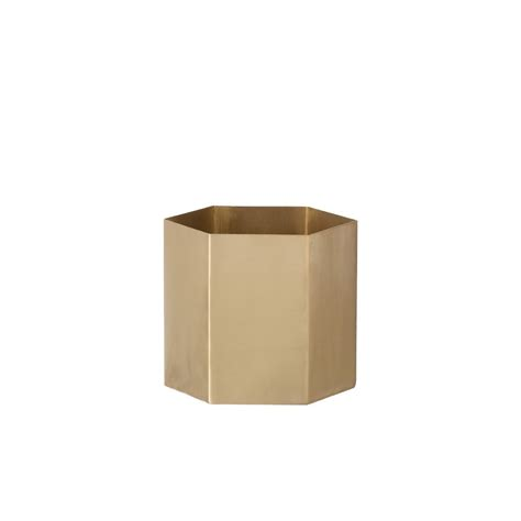 hexagon small flower pot in solid brass with mat ferm living