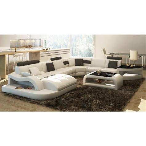canap 201 d angle design panoramique blanc et noir achat vente canap 233 sofa divan cdiscount