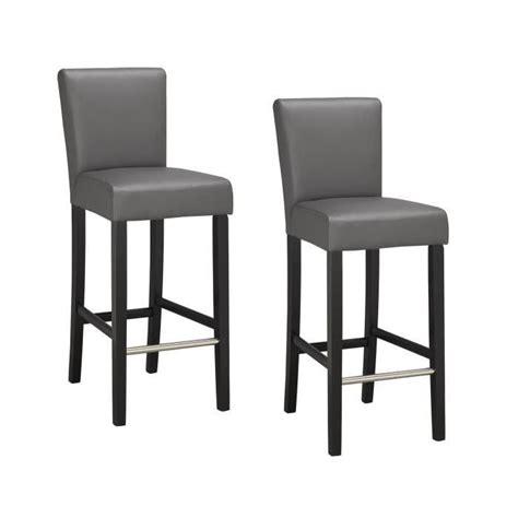 elvis lot de 2 chaises de bar grises achat vente tabouret de bar bois simili soldes d
