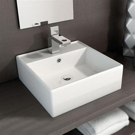 vasque 224 poser carr 233 e 40x40 cm plage de robinetterie c 233 ramique costa