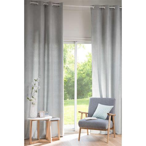 chenille light grey fabric eyelet curtain 130 x 300 cm maisons du monde