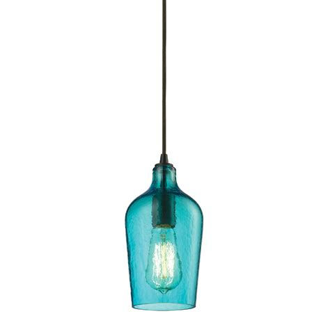 district17 hammered aqua glass mini pendant in rubbed