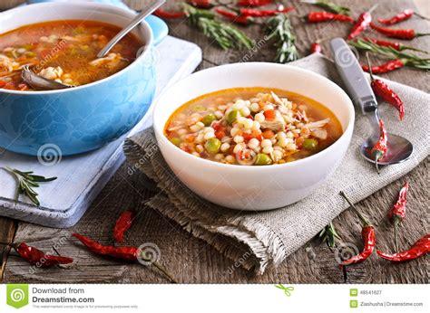 soupe avec de petits p 226 tes l 233 gumes et morceaux de viande photo stock image 48541627