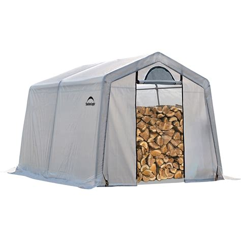 unique portable firewood storage rack with white tarpaulin