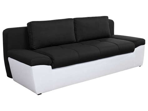 canap 233 convertible 3 places en tissu uno coloris blanc noir vente de canap 233 droit conforama