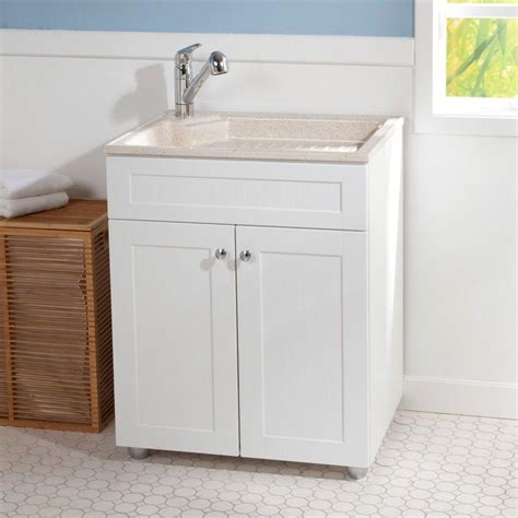 glacier bay 27 in w x 218 in d colorpoint laundry sink utility sink with cabinet in cabinet