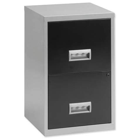 henry filing cabinet steel lockable 2 drawers a4 silver and black ref 095808 095808