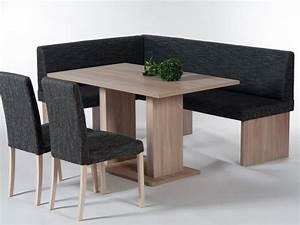 Eckbank Mit Tisch Und Stühle : carina eckbank esstischgruppe tisch bank 2 st hle dekor eiche webstoff grau ebay ~ Markanthonyermac.com Haus und Dekorationen