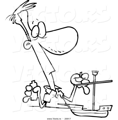 Boat Maker Cartoon by Vector Of A Cartoon Man Building A Model Boat Outlined