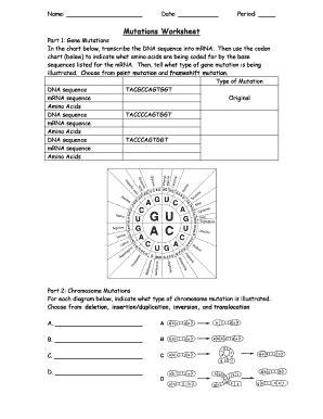 Mutations Worksheet  Biology  Pinterest Worksheets