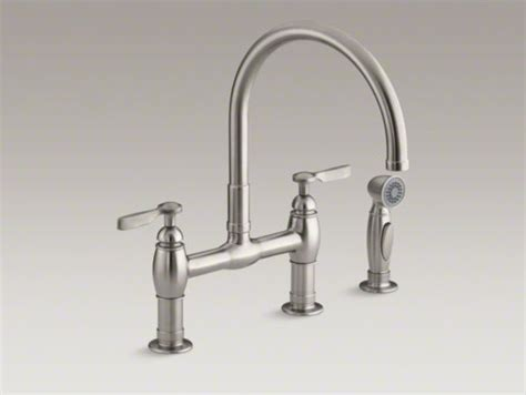 kohler parq r two deck mount bridge kitchen sink faucet with 9 quot gooseneck contemporary