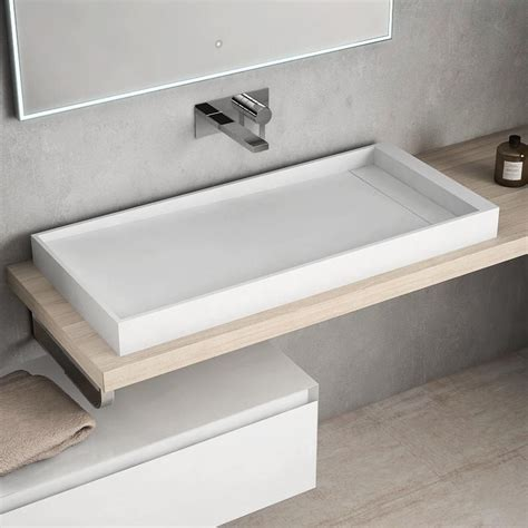 vasque 224 poser en r 233 sine 100x45 cm mineral