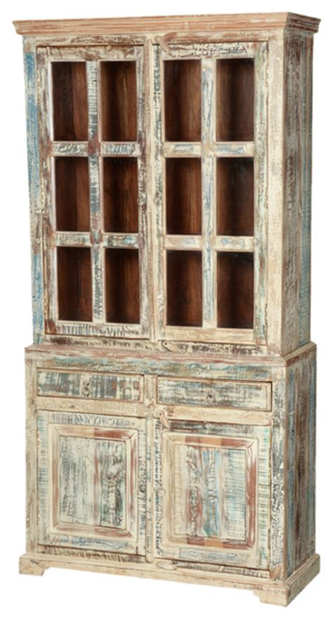 white washed reclaimed wood 78 5 breakfront hutch buffet cabinet farmhouse china cabinets