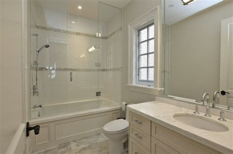 Subway Tile Tub Surround by Green Subway Tiles Transitional Bathroom Morrow And