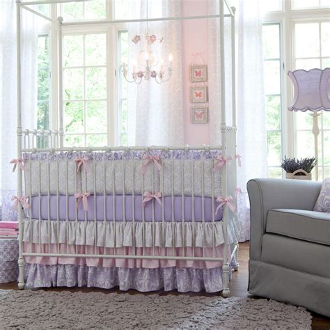 Lavender And Grey Bedding by Lilac And Silver Gray Damask Crib Bedding Baby Crib