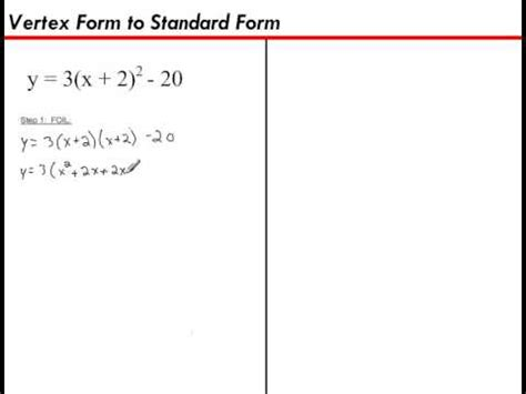 Vertex Form To Standard Form Youtube