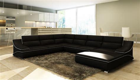 deco in canape d angle en cuir noir et blanc design roxane roxane angl noir blanc