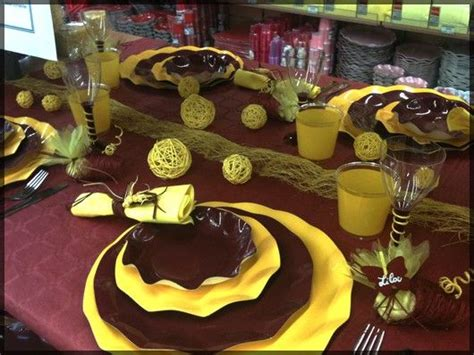 table de f 234 te marron chocolat et jaune sympa pour un anniversaire un mariage ou no 235 l