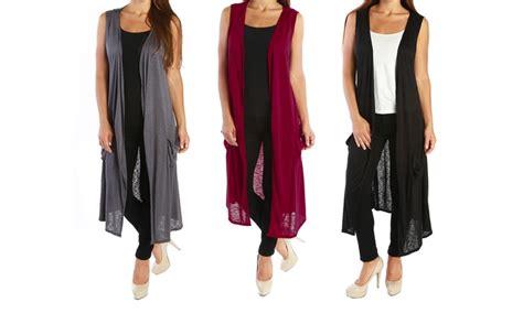 Plus Size Sleeveless Long Vests For Women