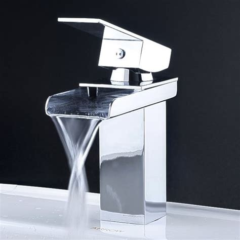 Contemporary Waterfall Bathroom Faucet In Chrome Finish