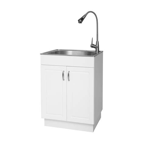 glacier bay all in one 24 2 in x 21 3 in x 33 8 in stainless steel laundry utility sink and