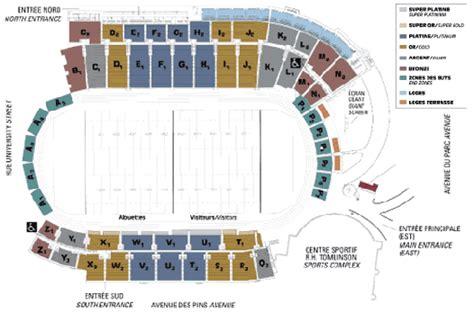 plan de salle stade percival molson billets