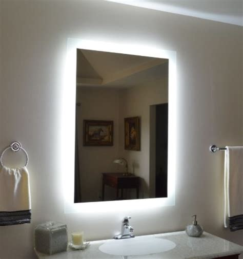 Lighted Bathroom Mirrors Wall by Wall Mounted Lighted Vanity Mirror Modern Bathroom