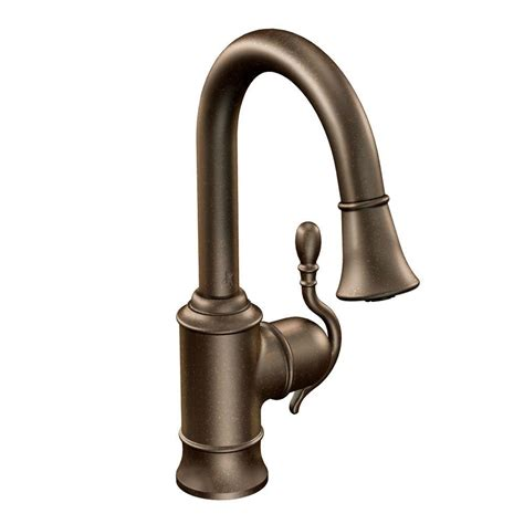 moen woodmere single handle bar faucet featuring reflex in rubbed bronze with pull