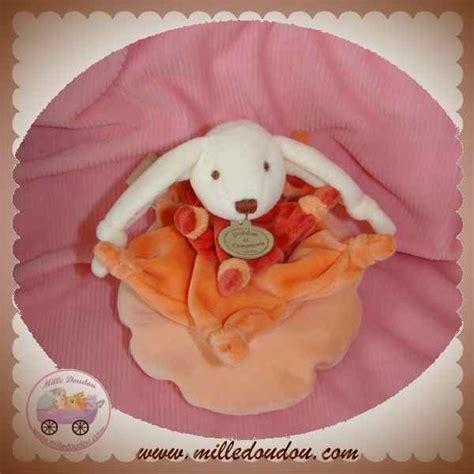 doudou et compagnie lapin fleur pouf orange saumon 1482