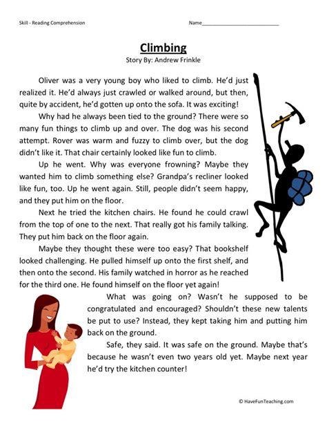 Reading Comprehension Worksheet Climbing