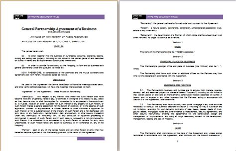 Partnership Agreement Template For Ms Word