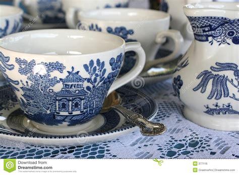 Blue China Tea Set Royalty Free Stock Image   Image: 377116