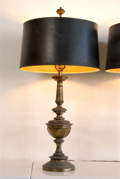 pair of stiffel brass ls with original shades at 1stdibs