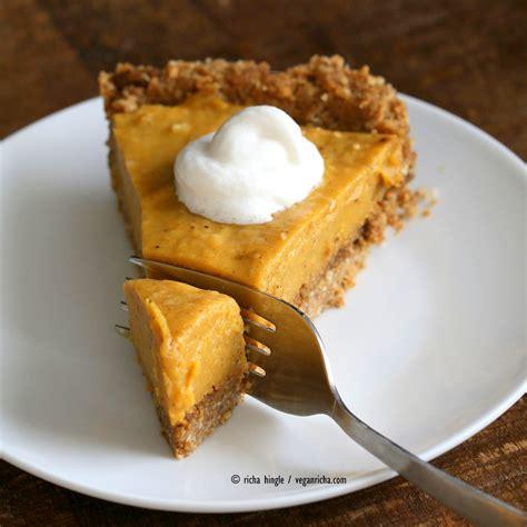 no bake vegan pumpkin pie with gluten free gingerbread crust vegan richa