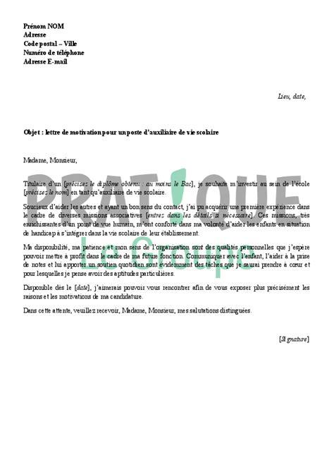 lettre de motivation pour devenir auxiliaire de vie scolaire pratique fr