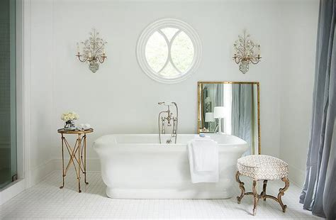 French Bathroom With Mirror And Brass Wall Sconces Pedestal Dining Room Table Large Pictures For Living Wall Contemporary Reclining Set Open Designs Target Chairs Round Side Tables Wallpaper Borders Rooms