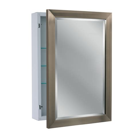 shop allen roth 22 25 in x 30 25 in brush nickel metal surface mount medicine cabinet at lowes