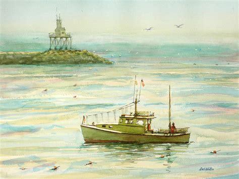 Lobster Boat Art by Lobster Boat Gloucester Breakwater Painting By Carl Whitten
